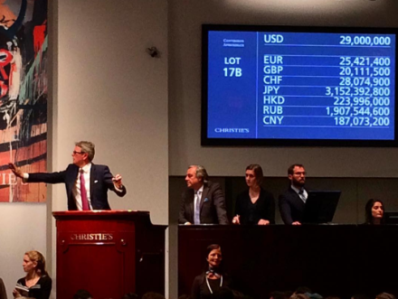 Jussi Pylkkanen at the rostrum as the Mark Rothko lot sells, via Art Observed