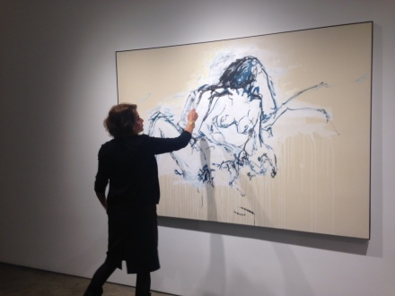 Tracey Emin during the walkthrough of her exhibiton Stone Love at Lehmann Maupin
