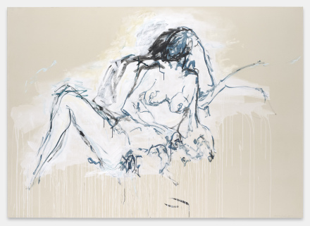 Tracey Emin, You were here like the ground underneath my feet, 2016 acrylic on canvas 60.24 x 83.86 inches