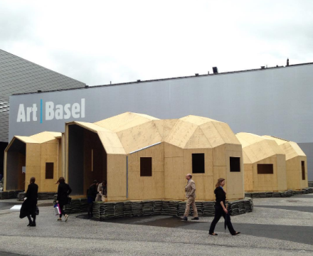 Oscar Tuazon outside Messe Basel, via Andrea Nguyen for Art Observed