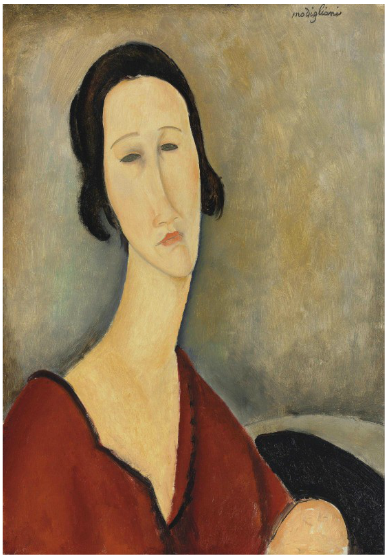 Amedeo Modigliani, Madame Hanka Zborowska (1917), via Christie's