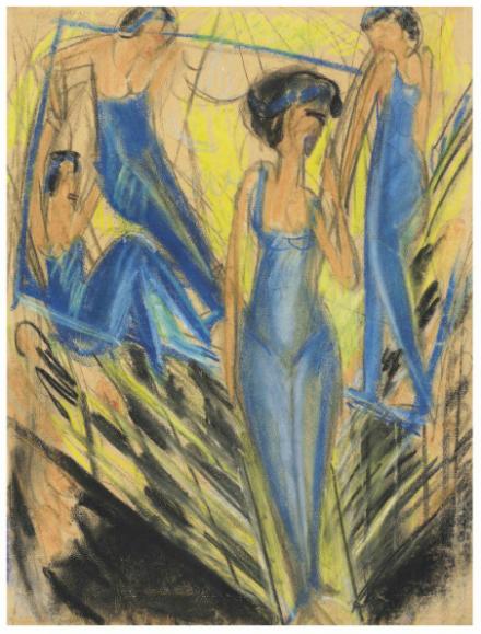 Ernst Ludwig Kirchner, Blaue Artisten (1914), via Christie's