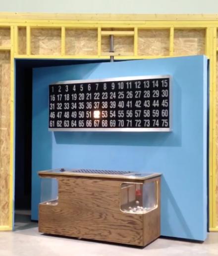 Mika Rottenberg, Bowls Balls Souls Holes (Bingo) (2014), via Art Observed