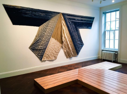Pia Camil, Slats, skins and shop fittings (Installation View), via Art Observed