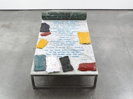 Ida Ekblad, A Caged Law Of The Bird The Hand The Land (2011), via Mex Hetzler
