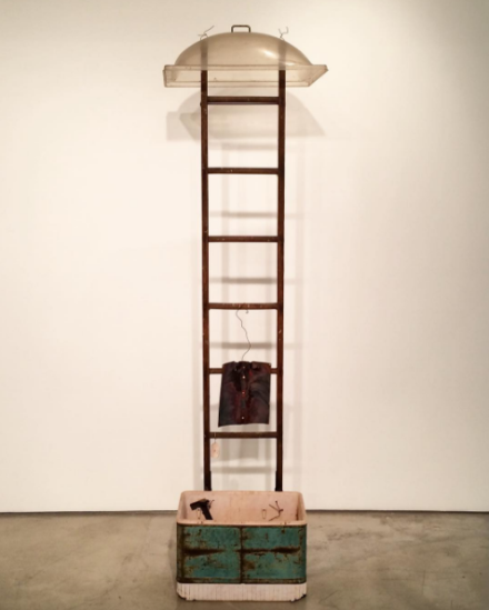 George Herms, Gemini Ladder (1996), via Art Observed