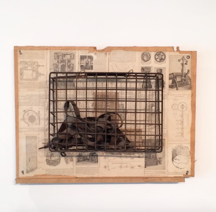 George Herms, Harness and Cage (1985), via Art Observed