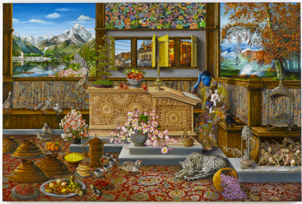 Raqib Shaw, Self Portrait in the Study at Peckham (After Vincenzo Catena) Kashmir Version (2015-2016), via White Cube