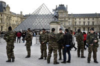 Soldiers at the Louvre, via Artnet