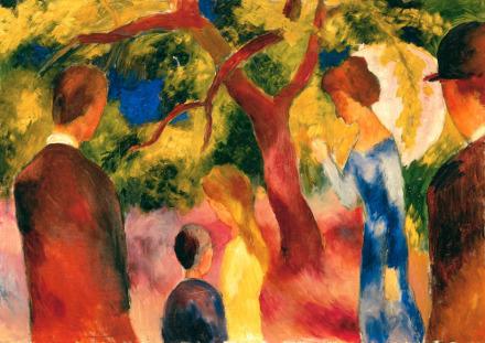 August Macke, Great Promenade People in the Garden (1914), via Fondation Beyeler