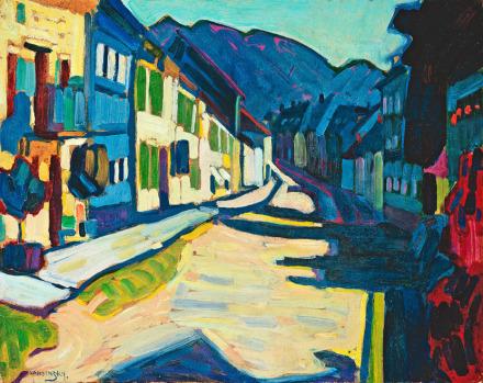 Wassily Kandinsky, Murnau—Obermarkt with Mountains, (1908), via Fondation Beyeler
