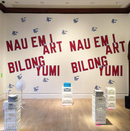 Lawrence Weiner, NAU EM I ART BILONG YUMI (The art of today belongs to us), (1988-2016), via Art Observed