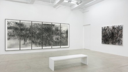 Julie Mehretu, Hoodnyx, Voodoo and Stelae (Installation View), via Marian Goodman