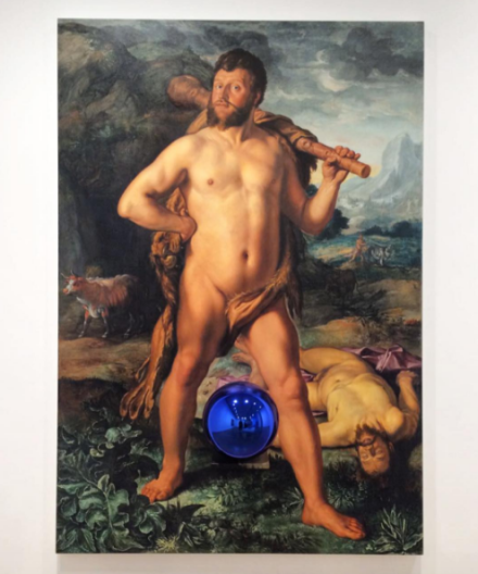 Jeff Koons, Gazing Ball (Goltzius Hercules and Cacus) (2015), via Art Observed