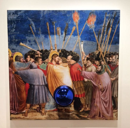 Jeff Koons, Gazing Ball (Giotto The Kiss of Judas) (2016), via Art Observed