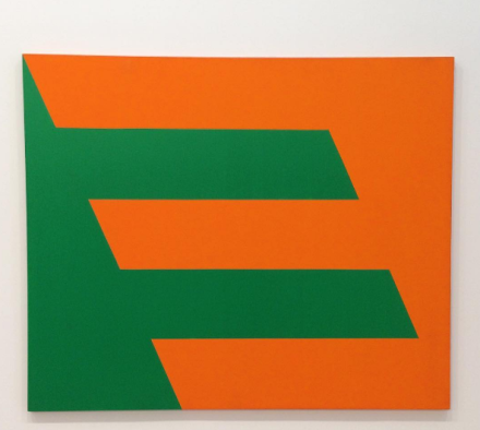 Carmen Herrera, Green and Orange (1958), via Art Observed