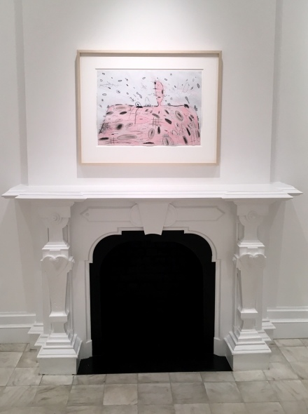 Carroll Dunham, Pink Mound with Eruption (5/18/93, 5/19/93) (1993), via Art Observed