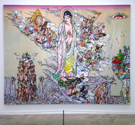 Takashi Murakami, Amitabha Buddha descends, Looking over his shoulder (2015), via Art Observed
