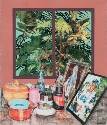 Njideka Akunyili Crosby, Grandmother's Parlour (2016), courtesy of Victoria Miro