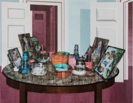Njideka Akunyili Crosby, The Twain Shall Meet (2015), courtesy of Victoria Miro