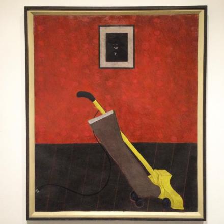 Kerry James Marshall, Portrait of the Artist and Vacuum (1981), via Art Observed