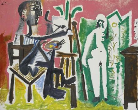 Pablo Picasso, Le Peintre et son Modele (1963), via Sotheby's