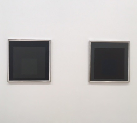 "Josef Albers, ""Grey Steps, Grey Scales, Grey Ladders"" (Exhibition View), via Art Observed"