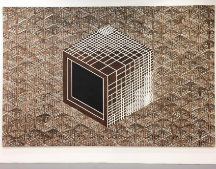 Thomas Bayrle, Cube I (1987), via Art Observed