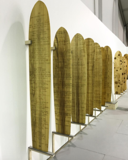 Tomas Vu's Printer Surfboards at Untitled Art Fair, via Art Observed
