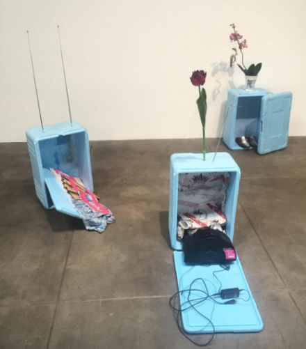 Isa Genzken, I Love Michael Asher (Installation View), via Art Observed