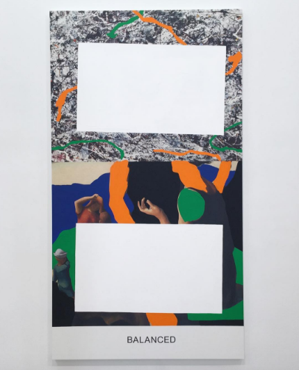 John Baldessari, Pollock/Benton: Balanced (2016), via Art Observed