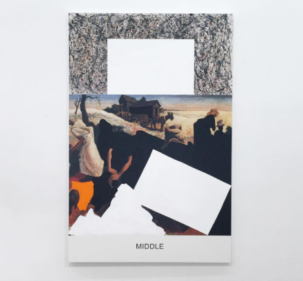 John Baldessari, Pollock/Benton: Middle (2016), via Art Observed
