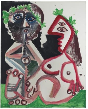 Pablo Picasso, Joueur de flute et femme nue (1970), via Christe's