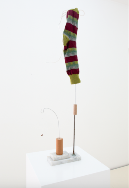 B Wurtz, Untitled (Red with green stripes sock) (2016), via Lulu Gallery