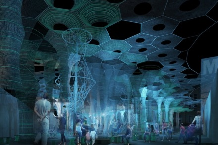 A rendering of Lumen by Jenny Sabin, via Archinect