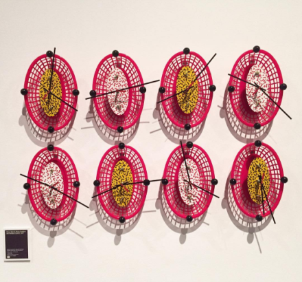 French fry basket clocks by Peter Shire and Ricky Swallow, via Art Observed