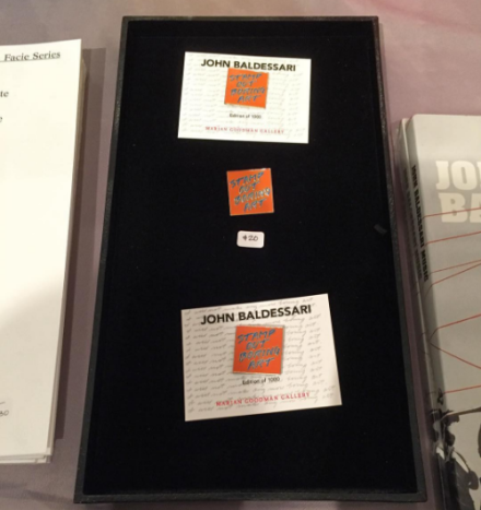John Baldessari pins at Marian Goodman, via Art Observed