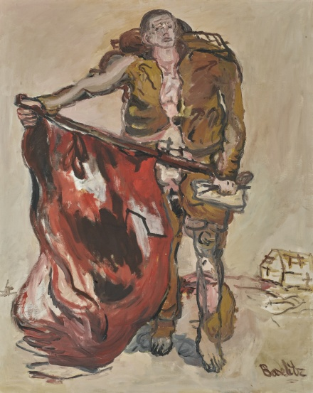 Georg Baselitz, Mit Roter Fahne (With Red Flag) (1965), via Sotheby's