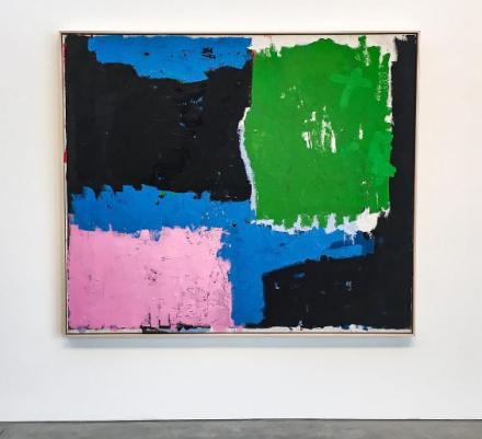 Joe Bradley, Head Game (2017), via Art Observed