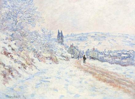 Claude Monet, La route de Vetheuil, effet de neige (1879), via Christies