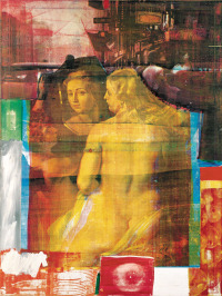 Robert Rauschenberg: Persimmon, 1964; from Rauschenberg's series of oil and silkscreen-ink print paintings in which, Jed Perl writes, 'photographs of President Kennedy, crowded city streets, space travel, and a nude by Rubens come together to s