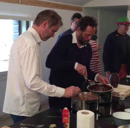 Olaf Nicolai serves hot chocolate at A Plus A Gallery this morning, via Art Observed