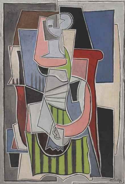 Pablo Picasso, Femme assise dans en fauteil (1939), via Christie's