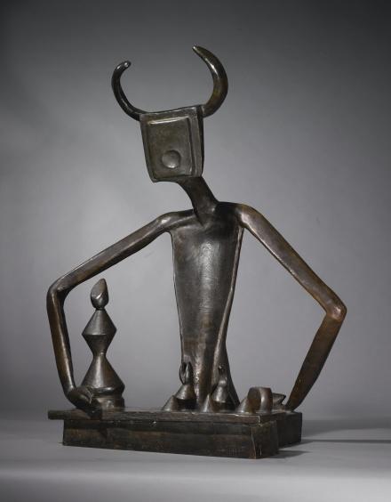 Max Ernst, Le Roi jouant avec la reine (circa 1950s), via Sotheby's