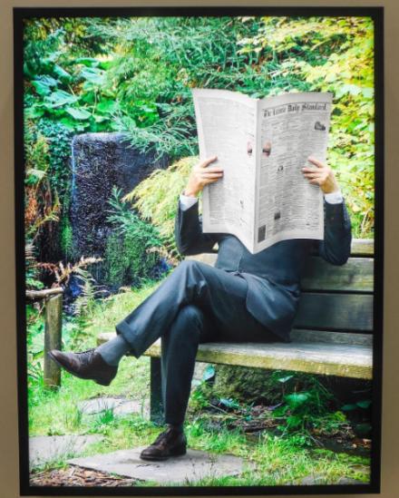 Rodney Graham, Newspaper Man (2017), via Art Observed
