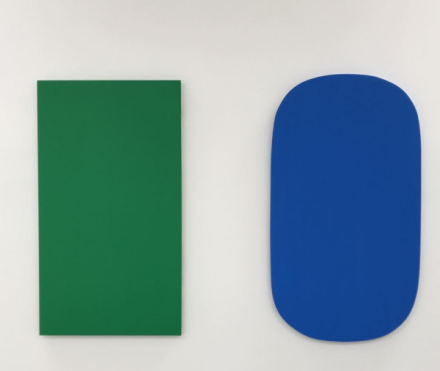 Ellsworth Kelly, Diptych Green Blue (2015), via Art Observed
