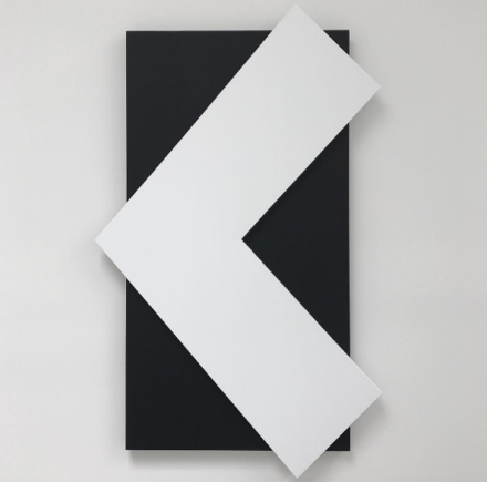 Ellsworth Kelly, White Angle Over Black (2015), via Art Observed