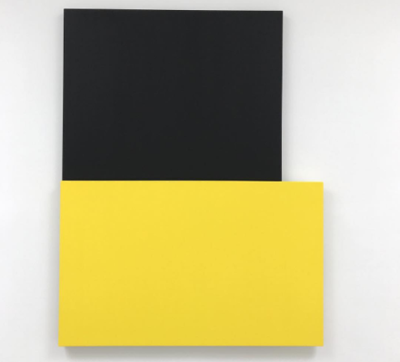 Ellsworth Kelly, Black Over Yellow (2015), via Art Observed