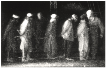 Robert Longo, Untitled (Prisoners, Kandahar Airport) (2016), via Art Observed