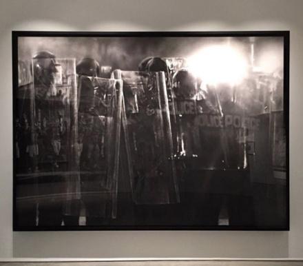 Robert Longo, Untitled (Riot Cops) (2016), via Art Observed
